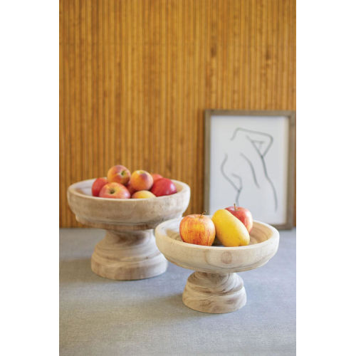 Beige Turned Wooden Compotes, Set of Two