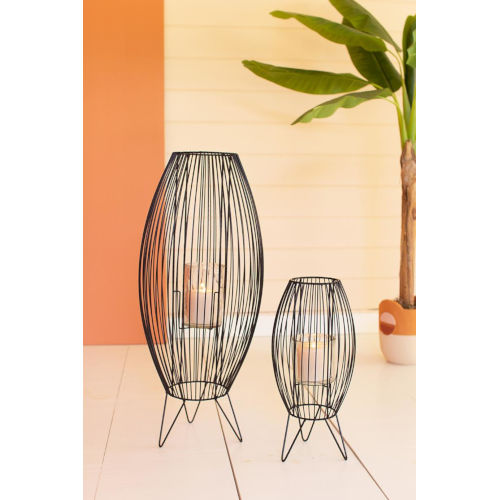 Black Tall Wire Lanterns, Set of Two