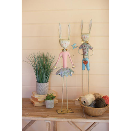 Beige Painted Metal Rabbits, Set of Two