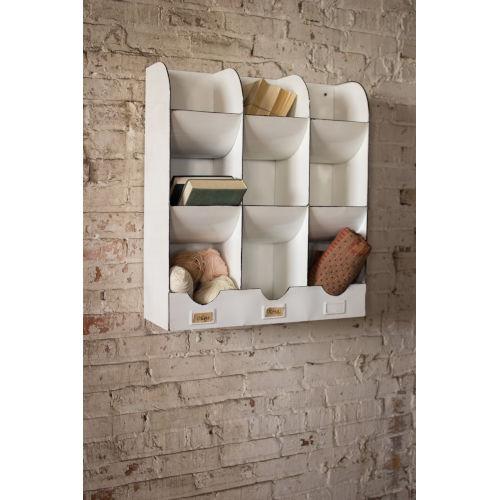 White Enamelware Nine Slot Wall Storages Cubie