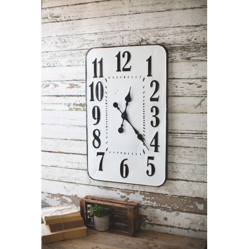 White and Black Enamelware Rectangle Wall Clock