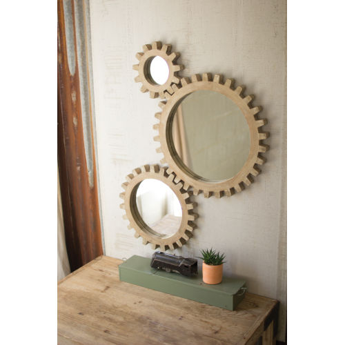 Gold Wooden Gears Mirrors, Set of Three