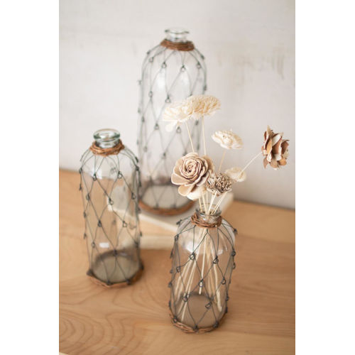 Natural Iron Tall Wire and Wicker Wrapped Glass Bottle