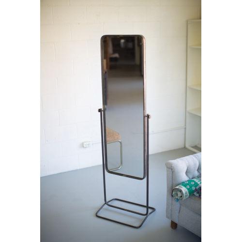 Natural Iron 21-Inch Tall Metal Framed Floor Mirror