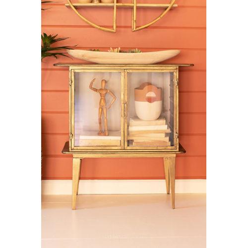 Antique Brass Glass Two Door Cabinet
