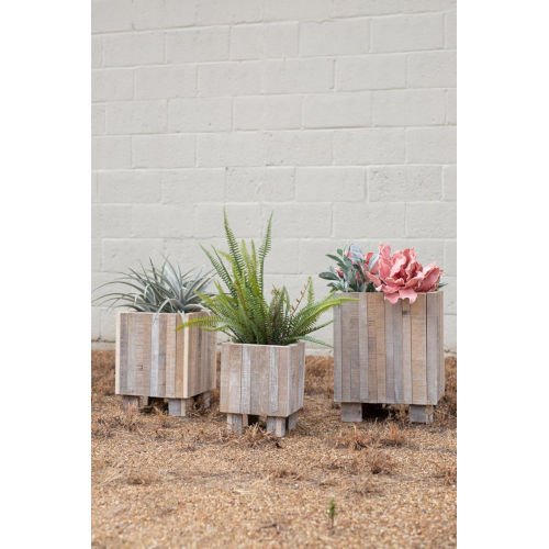 Gray and White Washed Recycled Wood Square Planter, Set of Three