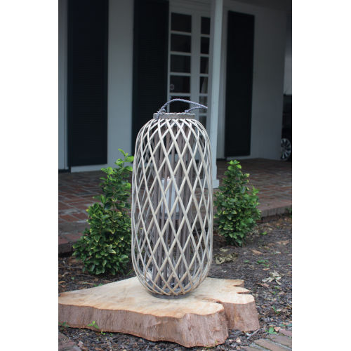 Grey Large Willow Lantern with Glass