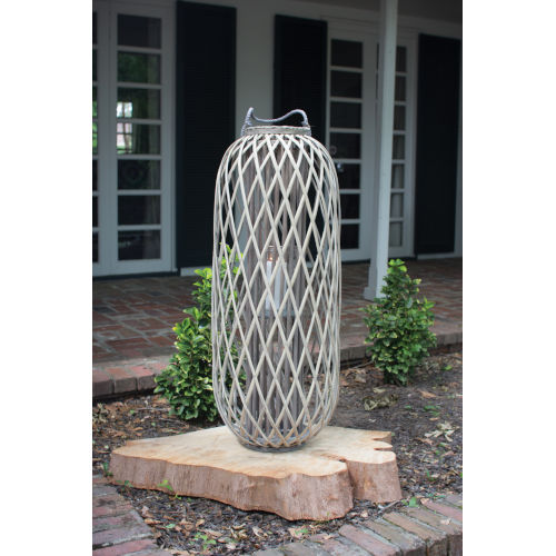 Grey Small Willow Lantern with Glass
