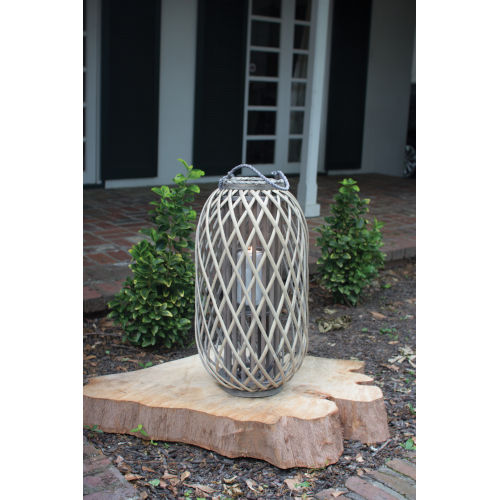Grey Large 11-Inch Willow Lantern with Glass