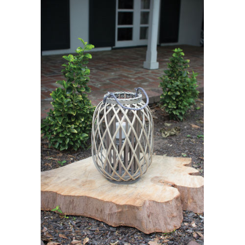 Grey Willow Lantern with Glass - Small
