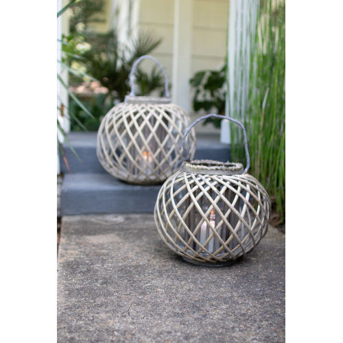 Grey Low Round Large Willow Lantern with Glass
