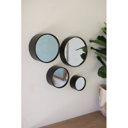 Black 3-Inch Round Metal Wall Mirrors, Set Of Four