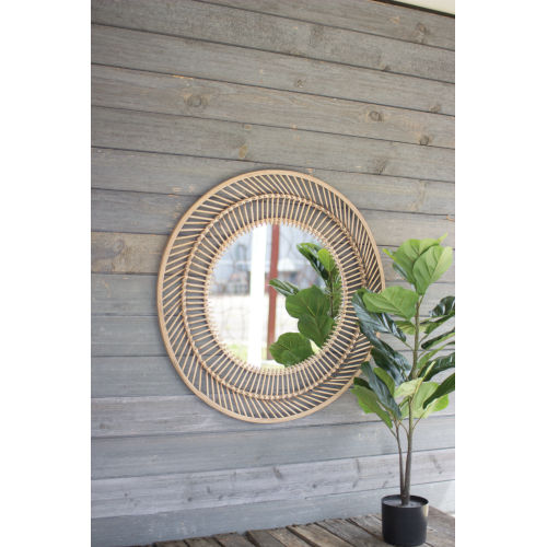 Natural 32-Inch Round Wall Mirror