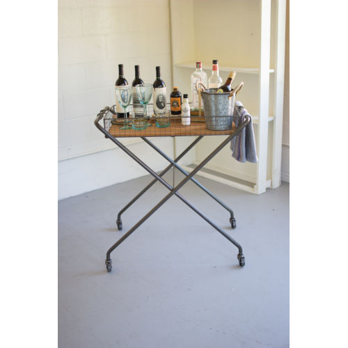 Brown and Metal Wire and Honey Wood Tray with Folding Base and Casters