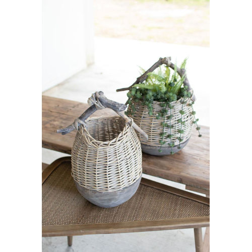 Gray Repurposed Wood and Willow Basket, Set of Two
