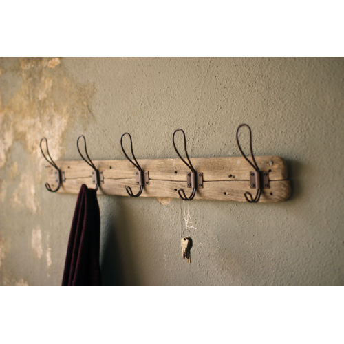 Brown Recycled Wood Coat Rack with Rustic Hooks
