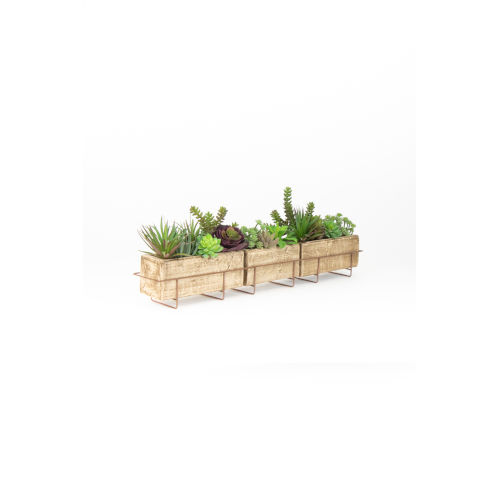 Brown Long Clay Planter with Wire Base