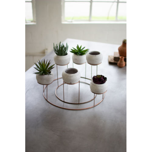 White Clay Planters With Wire Centerpiece, Set of 6