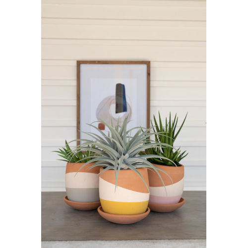 Multicolor Dipped Clay Pot with Clay Saucer, Set of Three