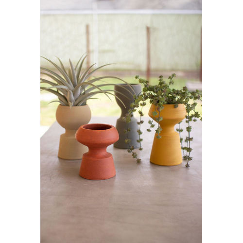 Multicolor Handmade Clay Vase. Set of Four