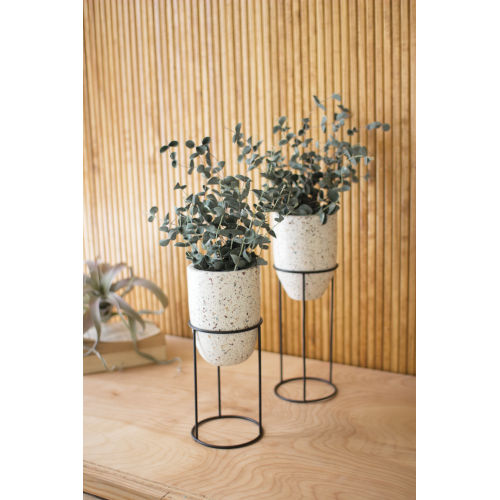 Natural Terrazzo Planter with Iron Stand, Set of 2