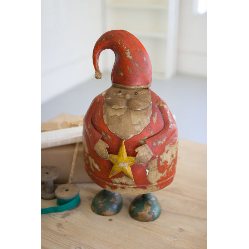 Multicolor Painted Recycled Metal Santa