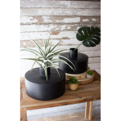 Black Waxed Metal Vase, Set of Two