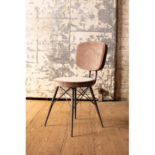 Cobblestone Velvet Dining Chair with Iron Frame