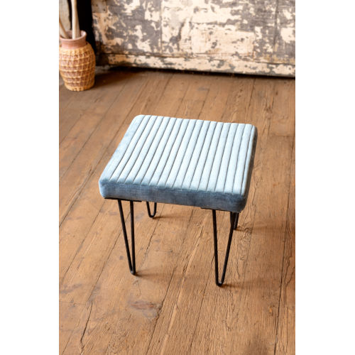 Steel Blue Velvet Stool with Channel Stitch top and Iron Led
