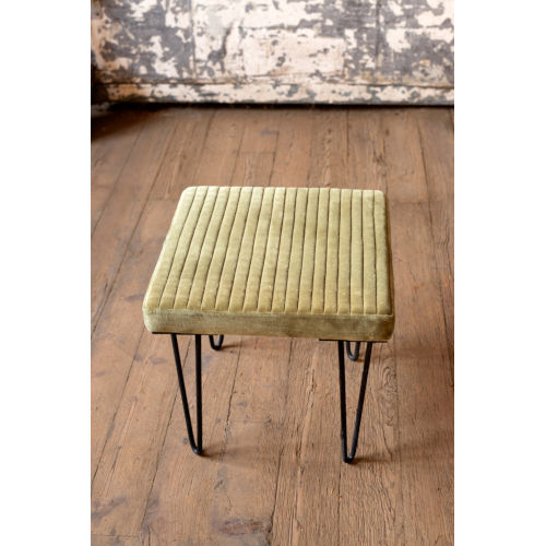 Avocado Velvet Stool with Channel Stitch top and Iron Led