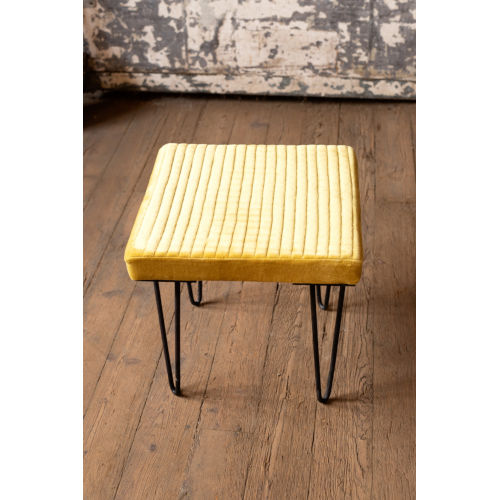 Honey Velvet Stool with Channel Stitch top and Iron Led