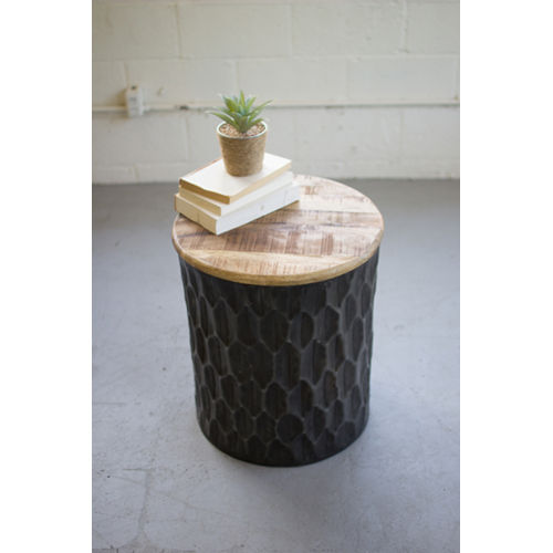 Grey Side Table with Mango Wood Top
