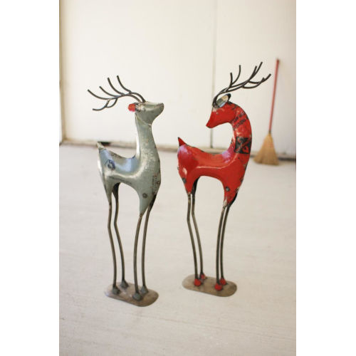 Multicolor Recycled Iron Deer, Set of 2