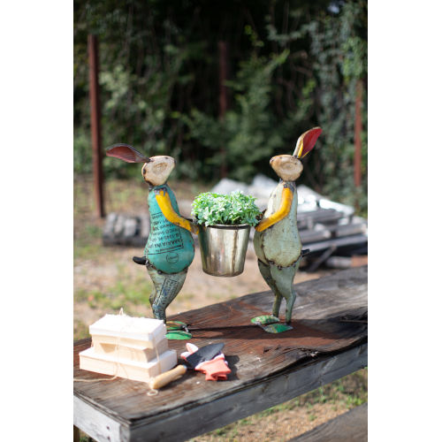 Multicolor Recycled Iron Rabbits Decor with Planter