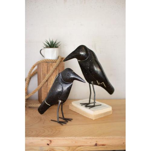 Antique Black Iron Crow, Set of Two