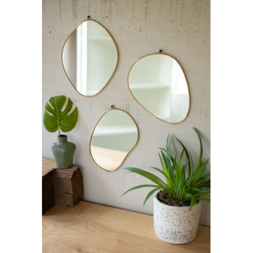 Brass Framed Organic Shaped Mirror, Set of 3