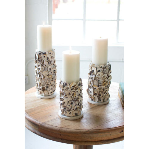 White Oyster Shell Pillar Candle Holder, Set of Three
