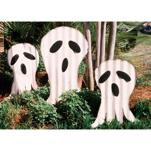 Corrugated Ghosts Yard Art, Set of Six