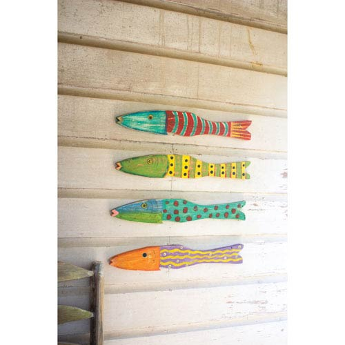 Recycled Wood Antique Fish, Set of 4