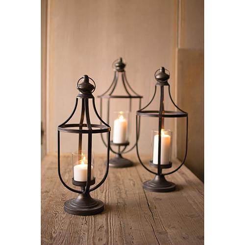 Kalalou Set of Three Metal Lanterns With Glass Insert