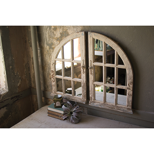 Distressed White Arched Window Mirror, Set of Two
