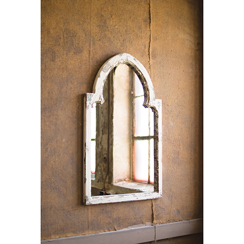 Distressed White Mirror with Gold Accent