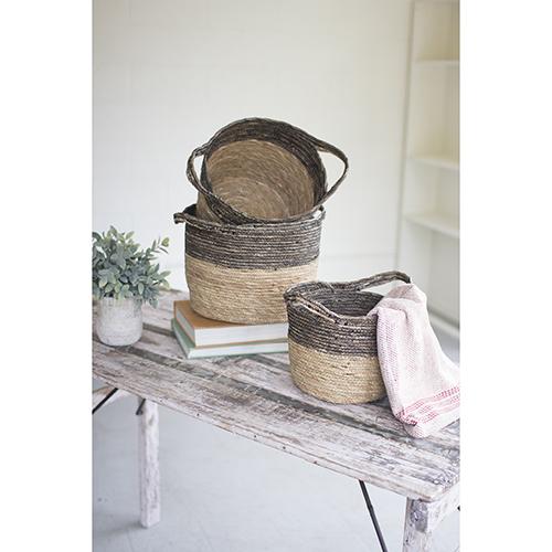 Set of Three Black And Natural Baskets