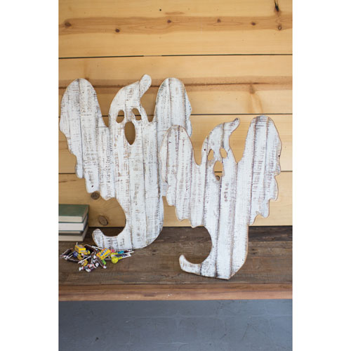 Recycled Wood Ghost Décor with Easels, Set of Two