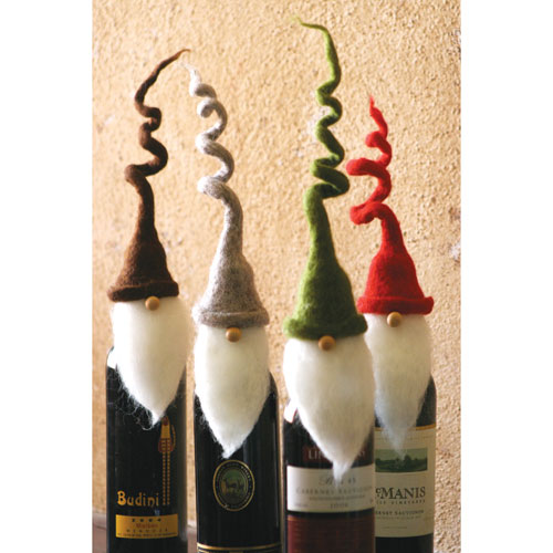 Felt Santa Wine Toppers with Curly Hats, Set of Four