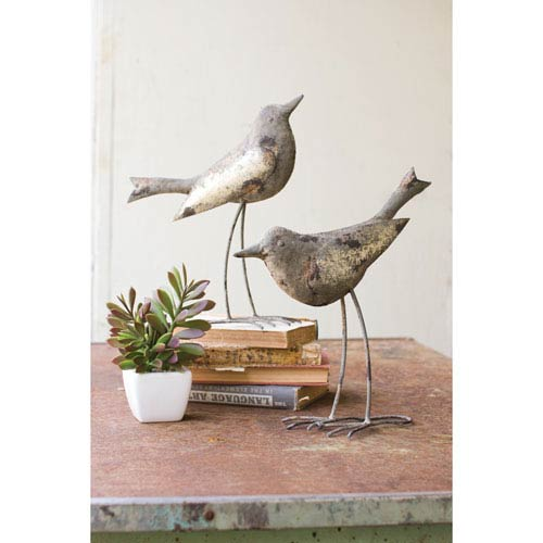 Rustic Gray Metal Birds, Set of Two