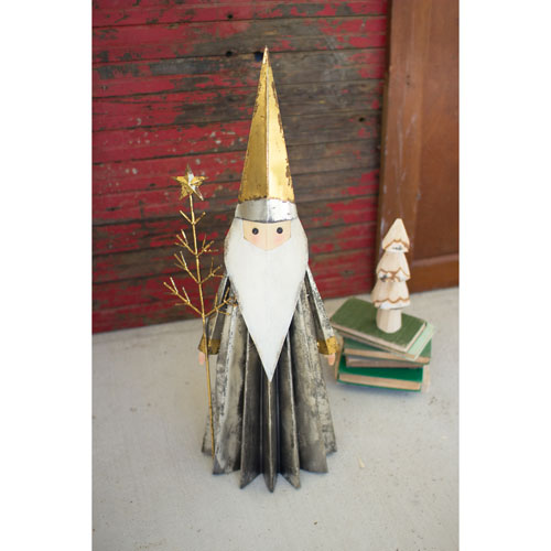 Santa Claus with Gold Hat Holding Tree