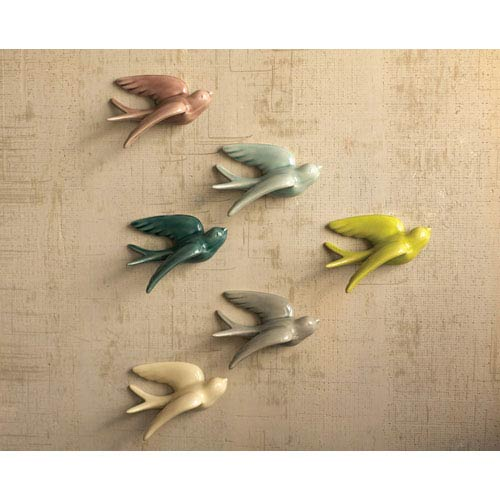 Kalalou Ceramic Swallows, Set of Six