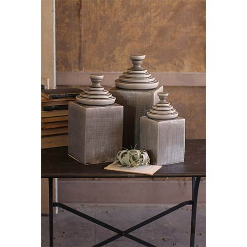 Grey Textured Ceramic Decorative Canisters with Pyramid Top, Set of 3
