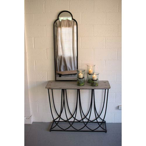 Kalalou Antique Black Arched Iron Mirror
